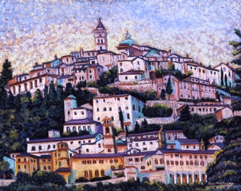 "Fine Art Print, Giclee Print, Trevi, Italy, Pastel Painting By Jan Maitland, Italian Town, Landscape, Italian City Scape, Signed, 8"" X 10"""