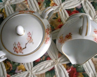 Vintage 1950s Fukagawa Arita  Maple Handpainted, Pattern 905, Sugar and Creamer China, Made in Japan, No Chips or Cracks
