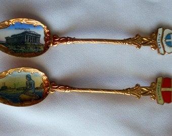 Vintage Copper Color International Collectible Souvenir Spoons from Denmark & Greece