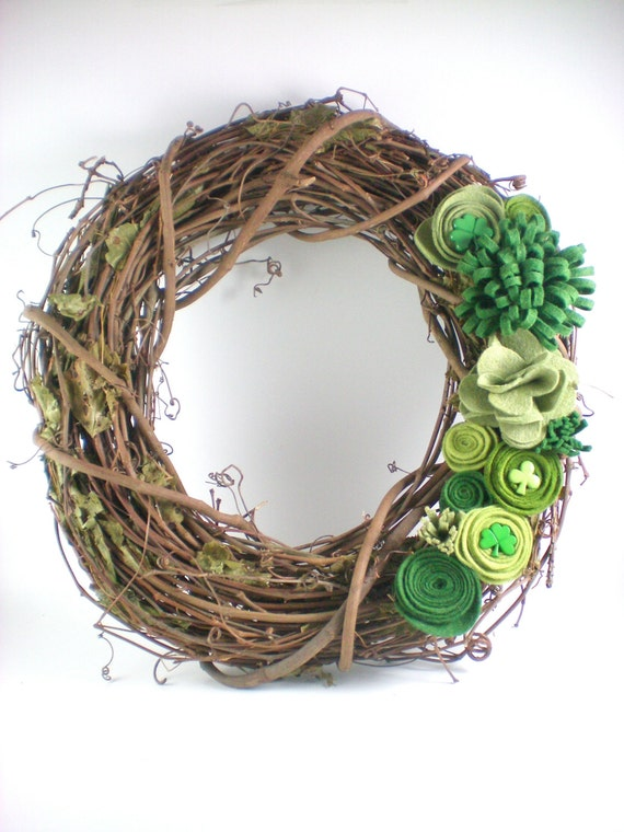 Shamrock Wreath St Patricks Day Wreath Felt Flower By