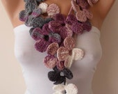 Crochet - Handknit flowered scarf - Lilac - Gray and Beige