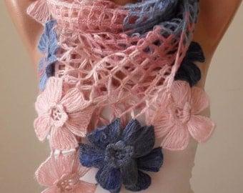Christmas Gift - Pink - Blue and Dark Blue Wool Crochet Scarf - Handknit - Winter Scarf