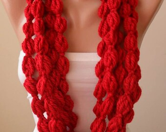 Red Wool Infinity Scarf  - Crochet Scarf