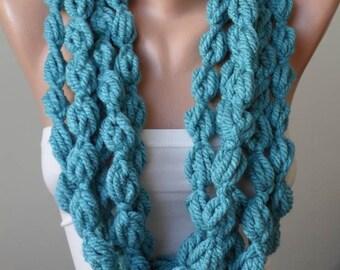 Turquoise Wool Infinity Scarf  - Crochet Scarf