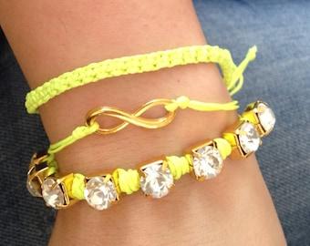 Friendship bracelet - Green Neon  Bracelet - infinity- eternity- Summer Bracelet
