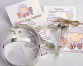 Chick and Egg Cookie Cutter Set - Tin Cookie Cutters & recipe card Gift Set - baking supplies party favors gift - homemade sugar cookies