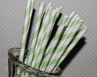 paper straws 100 Light Green stripe paper straws drinking straws vintage straws with flags - cake toppers party straws