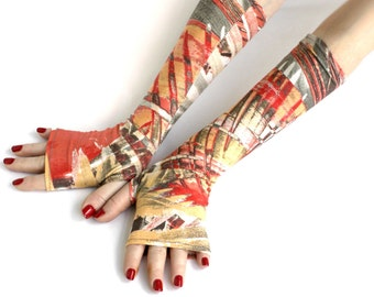 Abstract Fingerless gloves - Street Fashion mittens, Tribal Style,  Orient, Belly Dance, Gypsy, Fusion , Brown ,Red Gold Grey
