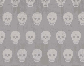 Skulls in Gray from Geekly Chic by  Riley Blake Designers 1/2 Yard Cut