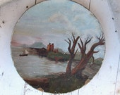 Antique Painted Paper Mache Plate / Water Boat Mountain Tree / Rustic Farmhouse Primitive / Amateur Hand Painted Scene / epsteam