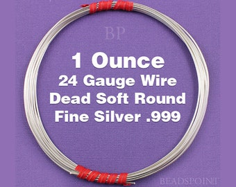 Fine Silver .999 24 Gauge Dead Soft Round Wire on Coil, Pure Silver Wrapping Wire, 1 Full Ounce (Approx. 47.60 Feet ) FS-W24/DS