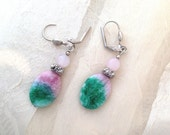 Handmade Earrings in Pink and Green Stones Silver Tone Lever Back