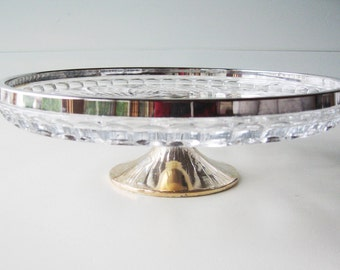 Cake Plate, Cake Stand, Silver Rim, Pressed Glass, Wedding Tablesetting