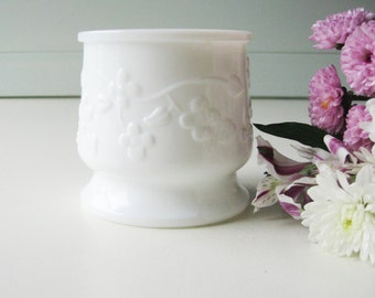 Small Milk Glass Bowl, Milk Glass Planter, Shabby Chic