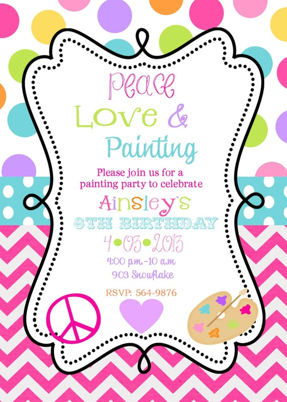 Peace Love Painting  Birthday Party Invitations, Art party printable or digital file