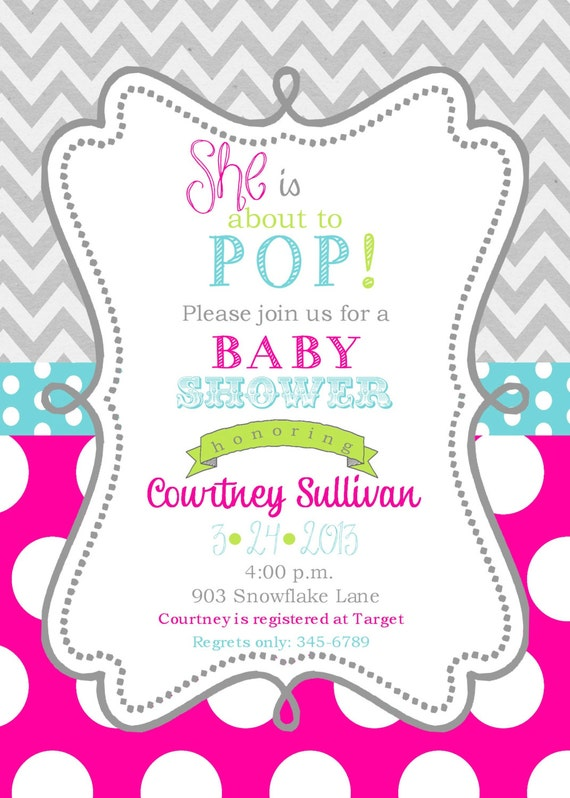 girls baby shower invitations digital or printable file ready to pop
