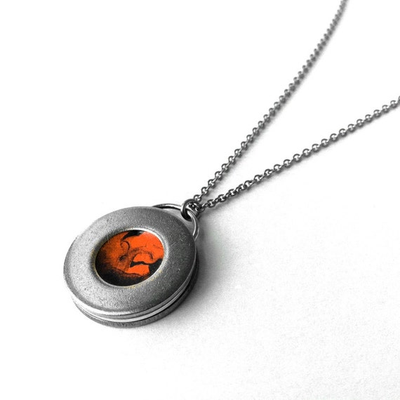 Circle Necklace, Resin Jewelry, Stainless Steel Necklace, Round Pendant, Industrial, Punk Rock Style