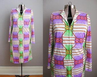 1960s Vintage Dress Psychedelic Print 60s 70s Dress Purple Green Neon Trompe L'Oeil / Large