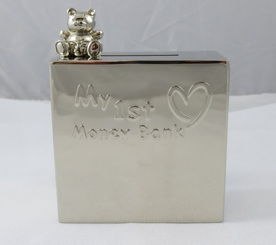 Personalized piggy bank engraved baby and newborn gifts - Engraved silver piggy bank ...