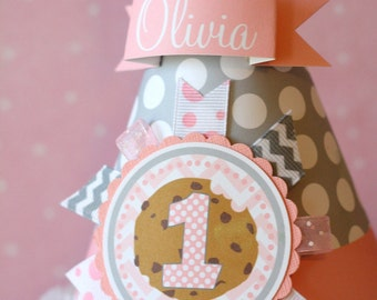 Milk and Cookies Party Hat, Pink & Gray