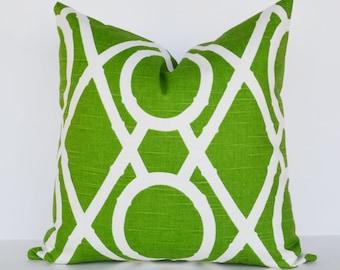 Decorative Pillow 18x18'  Accent Pillow Bamboo green lattice pattern green pillow cover toss pillow