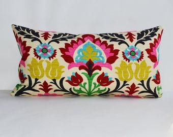 Decorative pillow 12x20'' accent Pillow with zig-zag stripe and floral wallpaper lumbar throw pillow