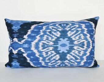 Decorative Pillow lumber 12x20 Accent Pillow Blue pillow ikat Throw Pillow ethnic pillow Cushion cover