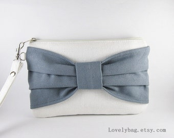 SUPER SALE - Ivory with Gray Bow Clutch - Bridal Clutches, Bridesmaid Clutch, Wedding Gift, Cosmetic Bag, Zipper Pouch - Made To Order