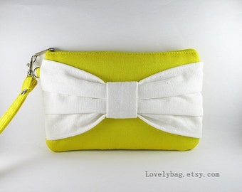 SUPER SALE - Yellow with Ivory Bow Clutch - iPhone 5 Wallet, iPhone 5 Wristlet, Cell Phone Wristlet, Camera Bag, Cosmetic Bag, Zipper Pouch