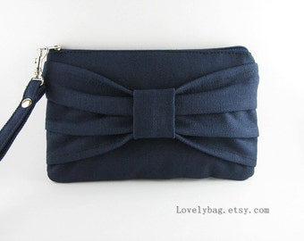 SUPER SALE - Navy Bow Clutch - Bridesmaid Wristlet, Wedding Gift, Cosmetic Bag, Make Up Bag, Camera Bag, Zipper Pouch - Made To Order