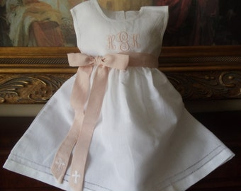 Baby and Toddler Girl White Linen Dress with Hemstitching Monogrammed  Birthday, Easter or Christening Dress