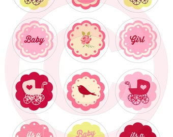 DIY Printable baby Girl shower cupcake toppers Vintage Tea Party Cake decorations