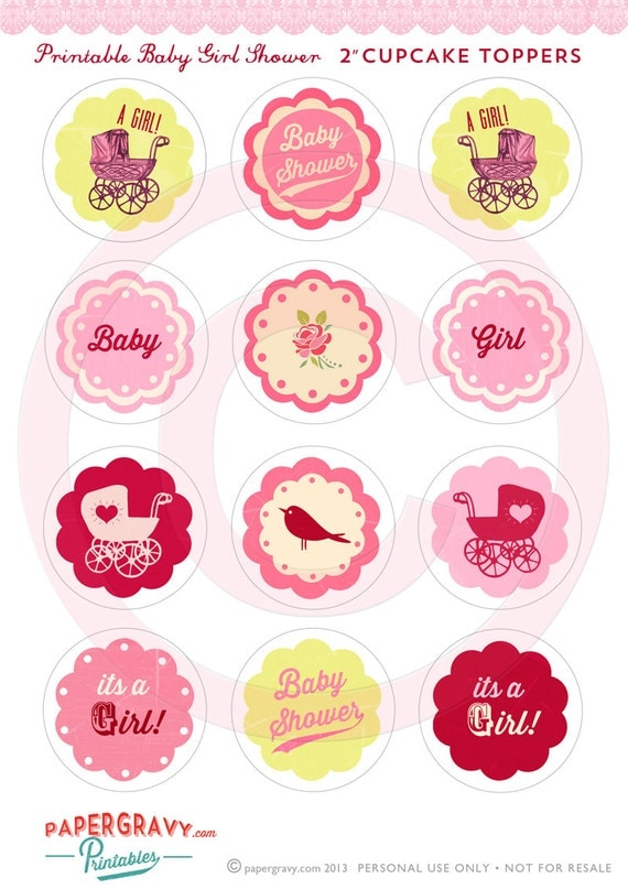 Cake Toppers Baby Shower Girl : DIY Printable baby Girl shower cupcake toppers Vintage Tea