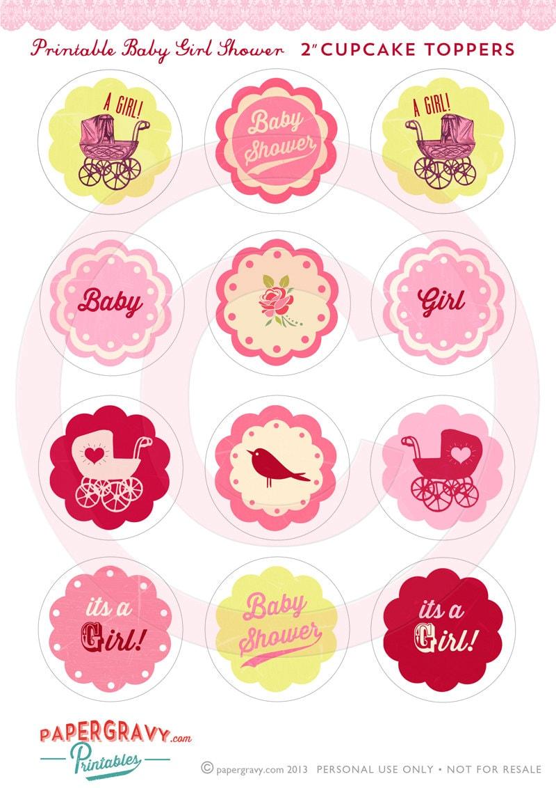 Diy Printable Baby Girl Shower Cupcake Toppers Vintage Tea