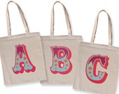 Alphabet bags, personalized long handle cotton tote bags featuring decorative circus font letters