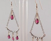 Rhodolite Garnet Sterling Silver Chandelier Earrings