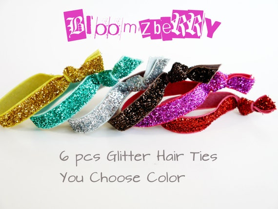 6 pcs Glitter Elastic Knotted Hair Ties - Assorted Color - You Choose Color -18 Colors Available -Toddler to Adult