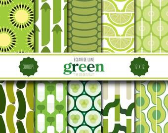 Green Digital Scrapbook Paper Food Dots Stripes