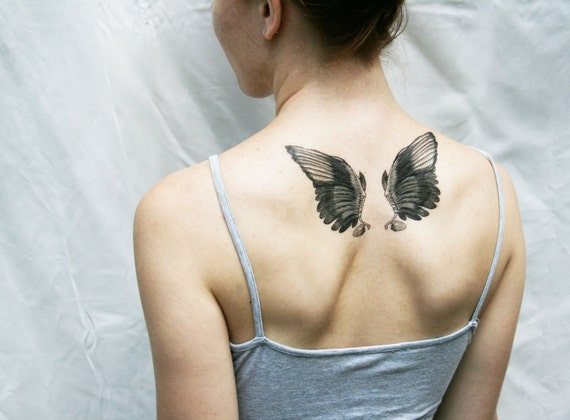 White Angel Wings Tattoos: Wings Black And White Vintage Angel Bird Temporary By