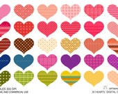 30 Hearts Digital clip art for Personal and Commercial use - INSTANT DOWNLOAD
