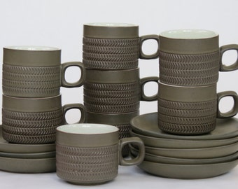 Vintage Set of Mid Century Coffee Cups and Saucers Made By Denby of England / Chevron Pattern / Mid Century Decor / Mid Century Design