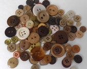 New lot of 70 buttons in shades of brown craft buttons sewing buttons scrapbook supply various sizes
