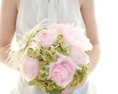 Green and pink cotton candy bouquet, handmade peony, cotton candy blooms and fresh green paper hydrangea wedding bouquet