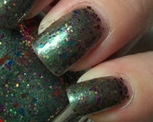SALE Nail Polish HATTER Olive Green with Rainbow Glitter