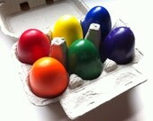 Eco-friendly Set of 6 Soy/Bees Wax Egg Crayons- Great First Crayon