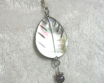 Mother of Pearl Pendant, Black Pearl Pendant, Shell Pendant Solid Sterling Silver 935 Wire Wrapped in Argentium Anti Tarnish wire