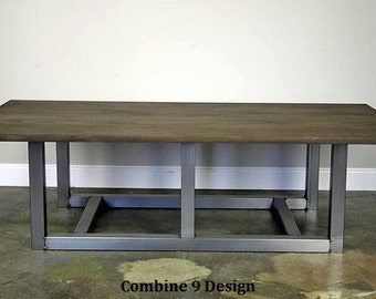 Modern Industrial Coffee Table. Steel & Wood (reclaimed top avail.). Custom sizes and colors available. Mid century. Urban loft decor