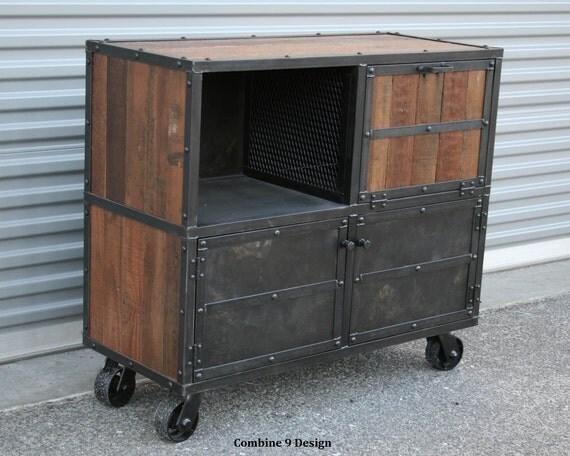 Bar Cart Liquor Cabinet Vintage Industrial Reclaimed Wood