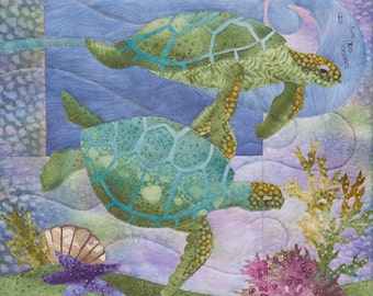"McKenna Ryan ""Sea Breeze"" The Nerdles (Block 1) Turtles Ocean Starfish, Quilting"