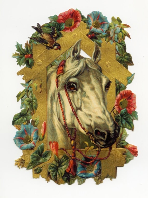 LARGE DIE CUT Relief - Horse with Morning Glories